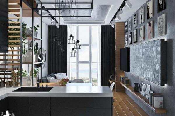 Lakonski dizajn sivo-crne kuhinje