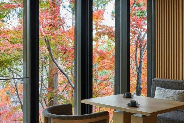 Osetite potpuni zen gledajući enterijer impresivnog hotela u Kjotu